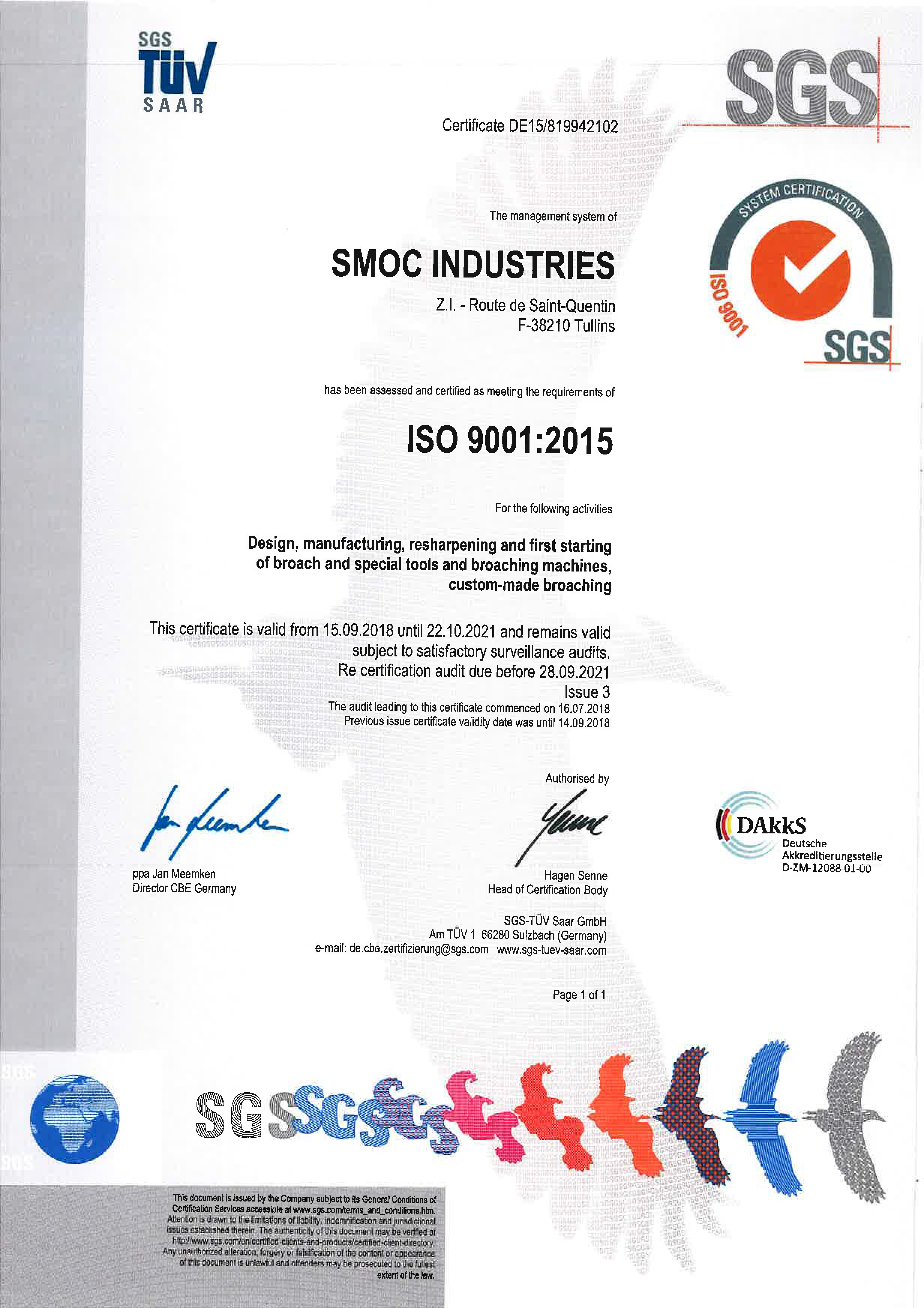 Certificate SMOC Industries ISO 9001:2015
